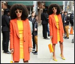 id-letterman-show-new-york-Yellow-skirt-yellow-top-orange-Proenza-Schouler-Twill-Coat-yellow-sergio-rossi-pumps-miu-miu-gold-noir-cat-eye-sunglasses-4