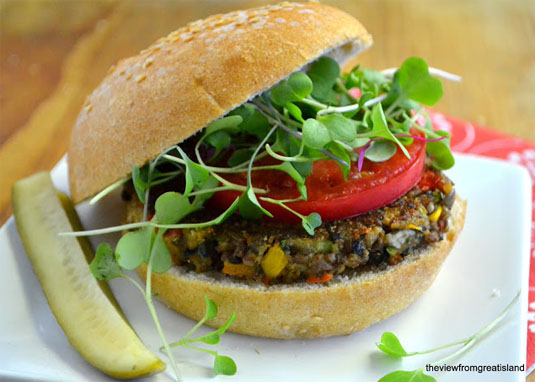 The Ultimate Veggie Burger: This isn't just any other veggie burger. The combination of red rice and black beans will make your taste buds happy. Get this recipe on [The View from Great Island]