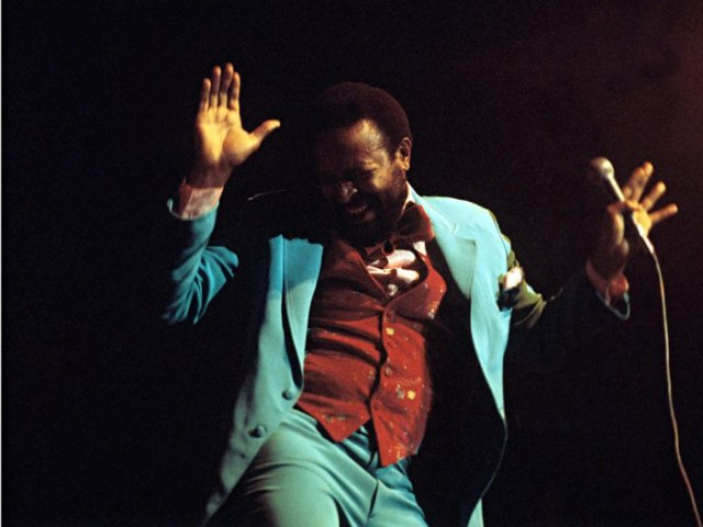 Marvin Gaye performs on stage at the Royal Albert Hall in 1976